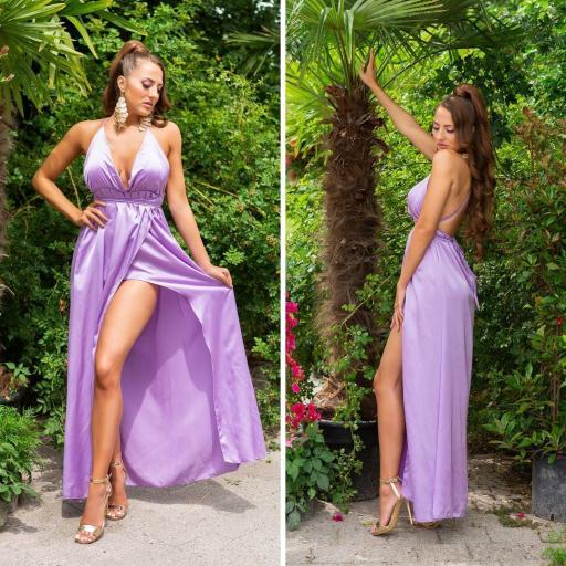 Vestido envolvente espalda desnuda lila