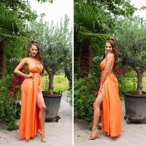Vestido elegante espalda desnuda naranja