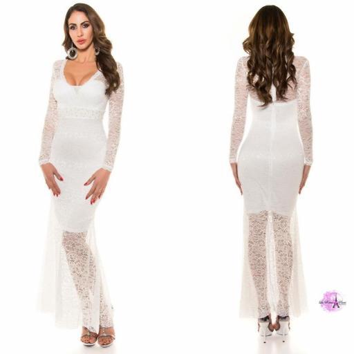 Vestido largo encaje escotado blanco [1]