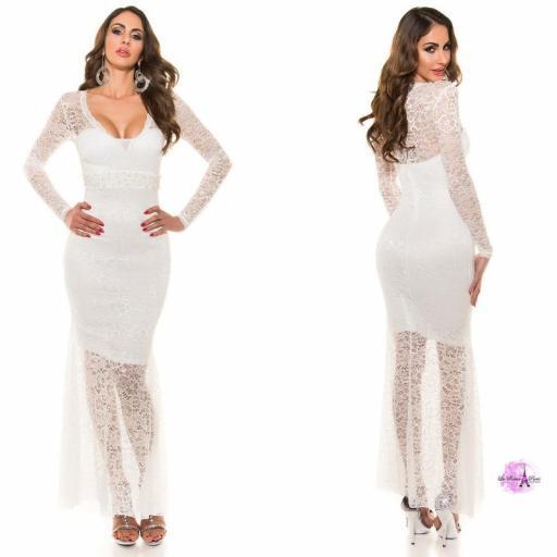 Vestido largo encaje escotado blanco [2]