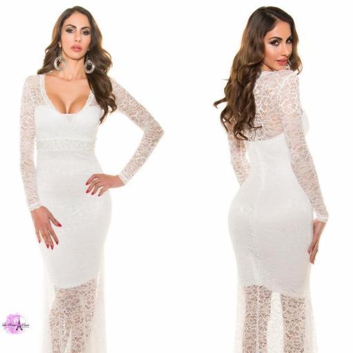 Vestido largo encaje escotado blanco [3]
