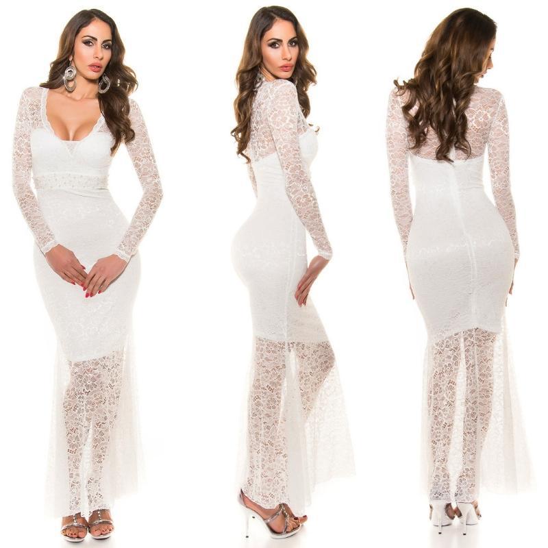 Vestido largo encaje escotado blanco