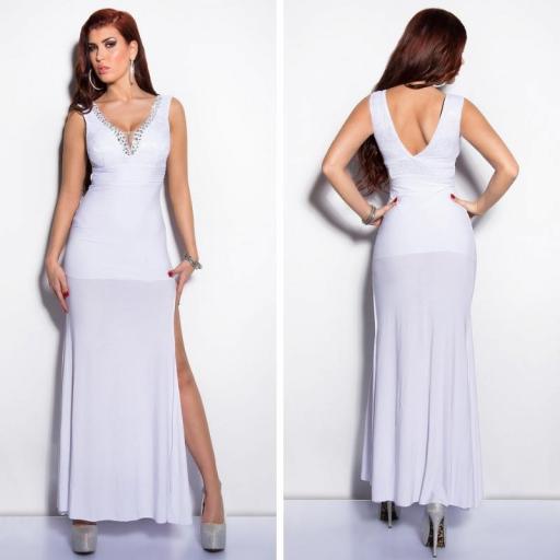 Vestido blanco con encaje y brillantes [0]