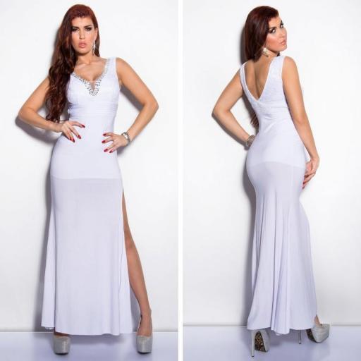 Vestido blanco con encaje y brillantes [1]