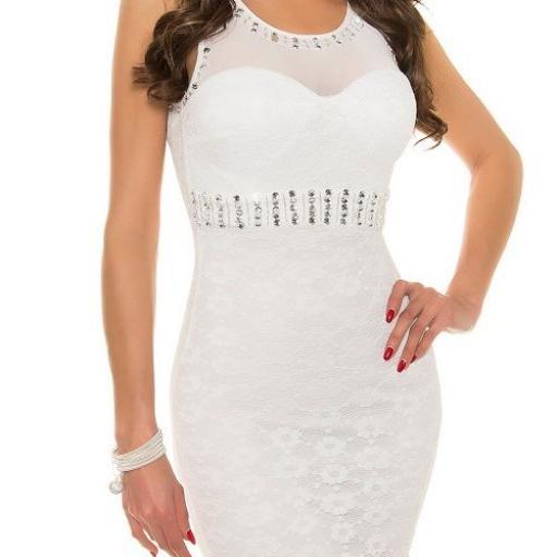 Vestido largo blanco de encaje y tul [1]