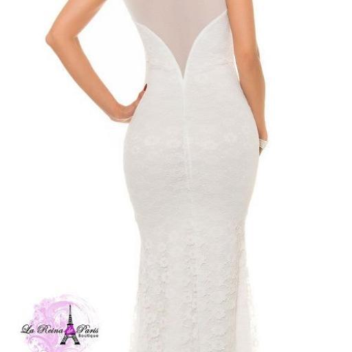 Vestido largo blanco de encaje y tul [2]