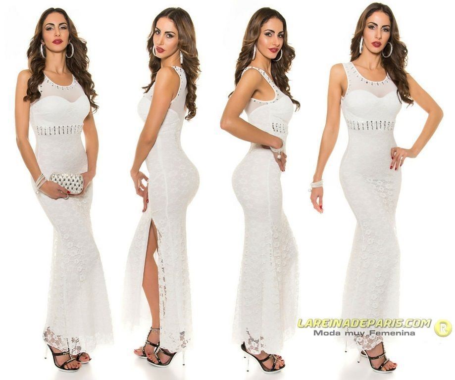Vestido largo blanco de encaje y tul