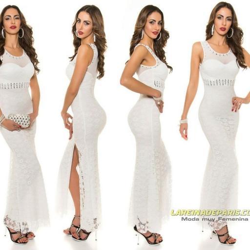 Vestido largo blanco de encaje y tul [0]