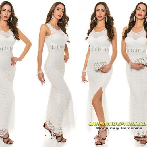 Vestido largo blanco de encaje y tul [3]