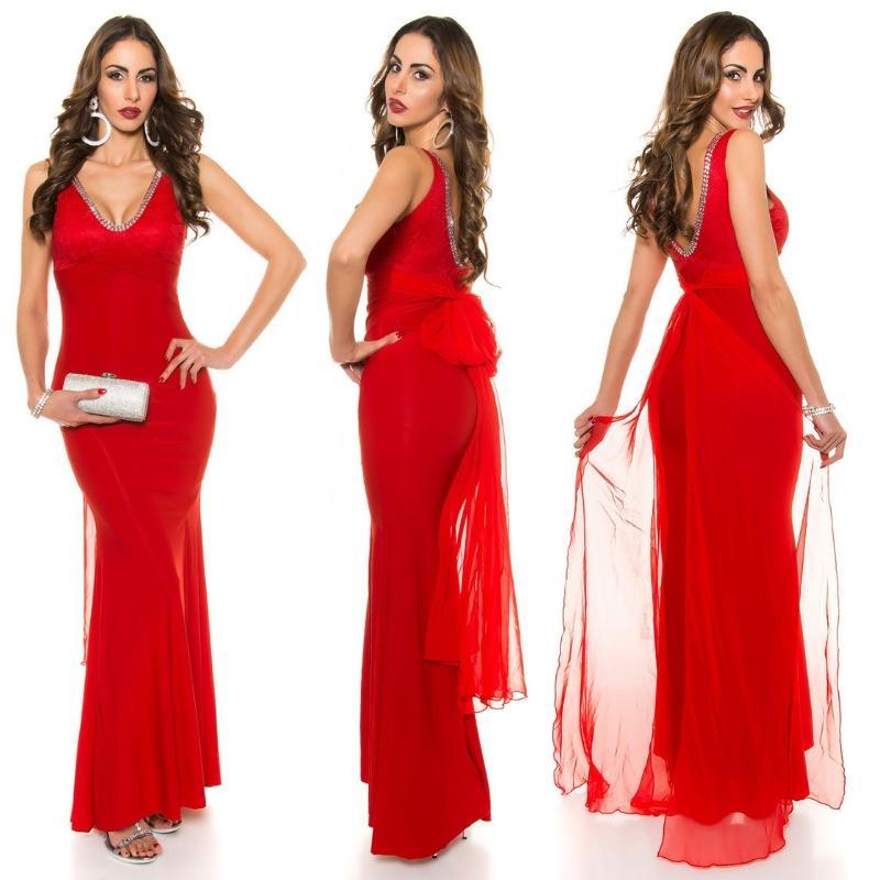 vestido largo sirena noche color rojo
