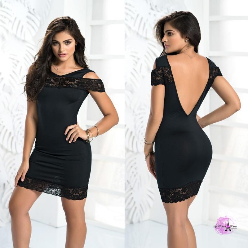 Vestido negro ajustado con encaje HB