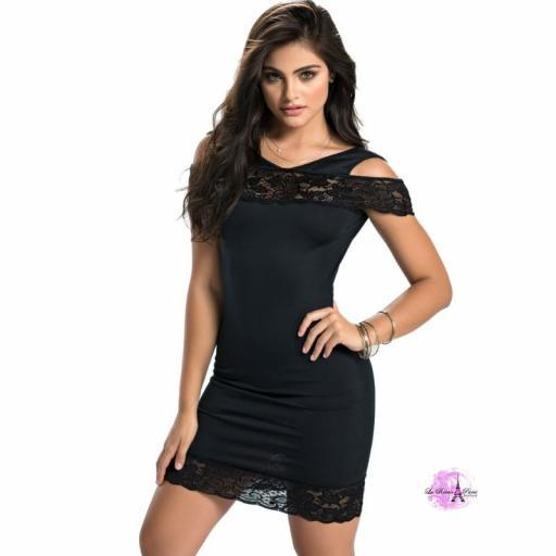 Vestido negro ajustado con encaje HB [1]