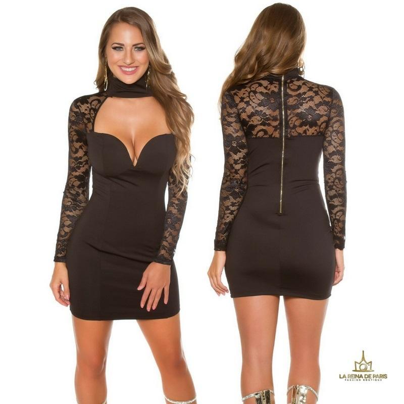 vestido negro de manga larga con encaje