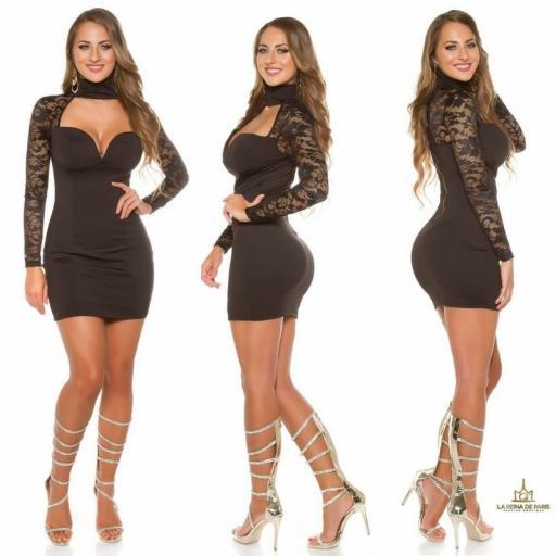 vestido negro de manga larga con encaje [2]
