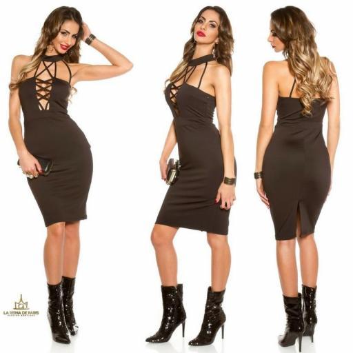 Vestido atractivo negro con tiras [2]