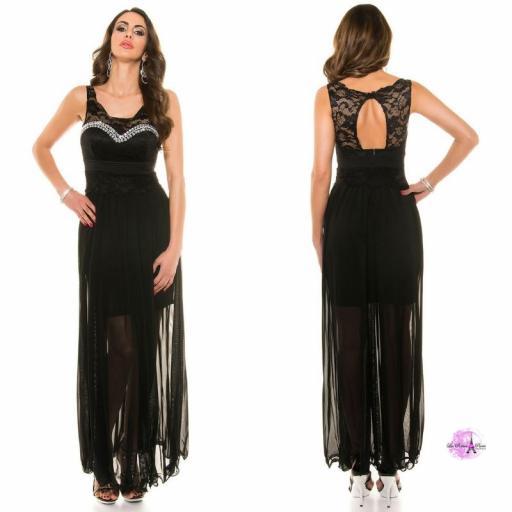 Vestido noche largo encaje negro [2]