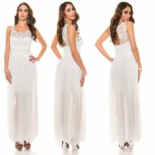 Vestido noche largo encaje blanco [1]