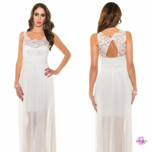 Vestido noche largo encaje blanco [3]