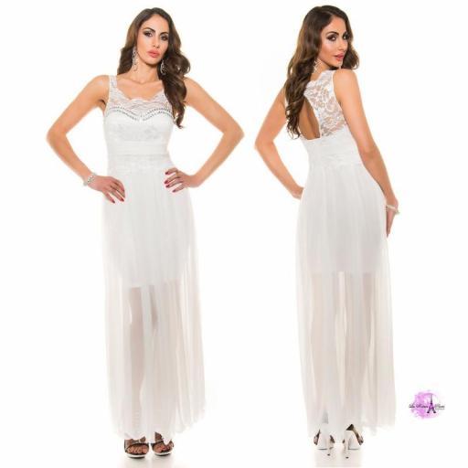 Vestido noche largo encaje blanco [2]
