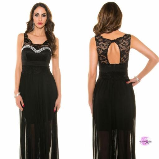 Vestido noche largo encaje negro [3]