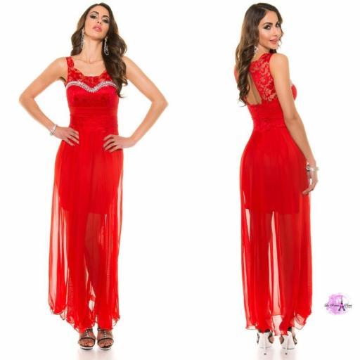 Vestido noche largo encaje rojo [3]