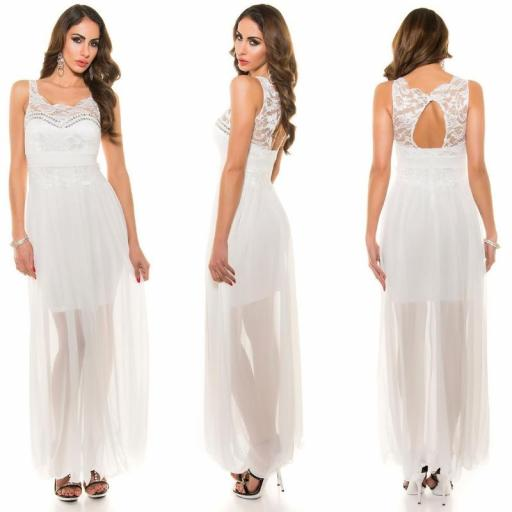 Vestido noche largo encaje blanco