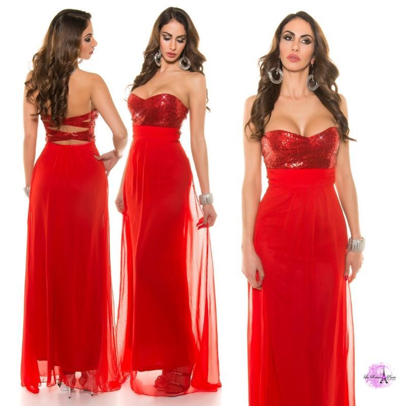 Vestido noche chiffon rojo