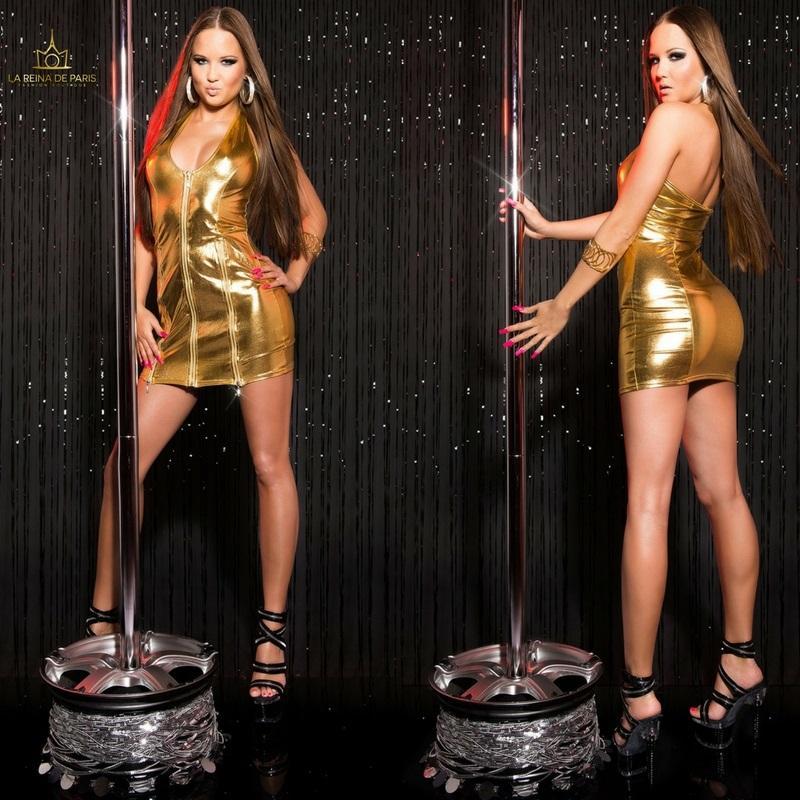 Vestido oro con cremalleras