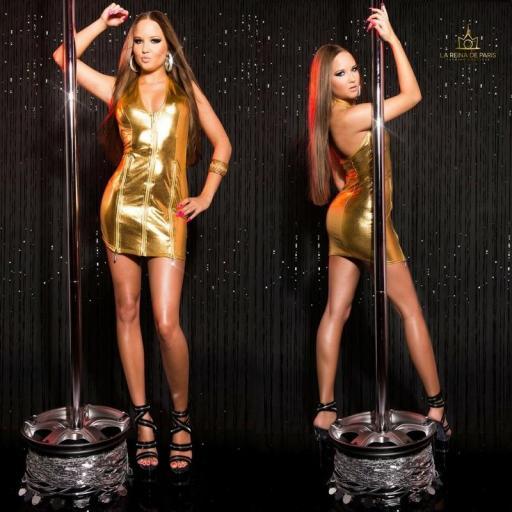 Vestido oro con cremalleras  [1]
