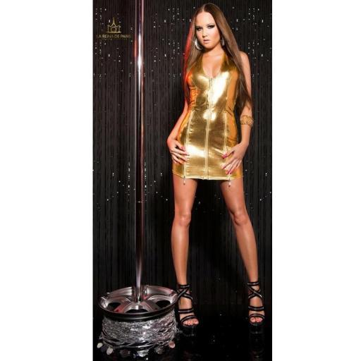 Vestido oro con cremalleras  [2]