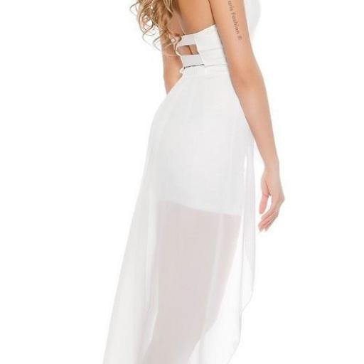 Vestido corto largo blanco [2]