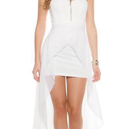Vestido corto largo blanco [3]
