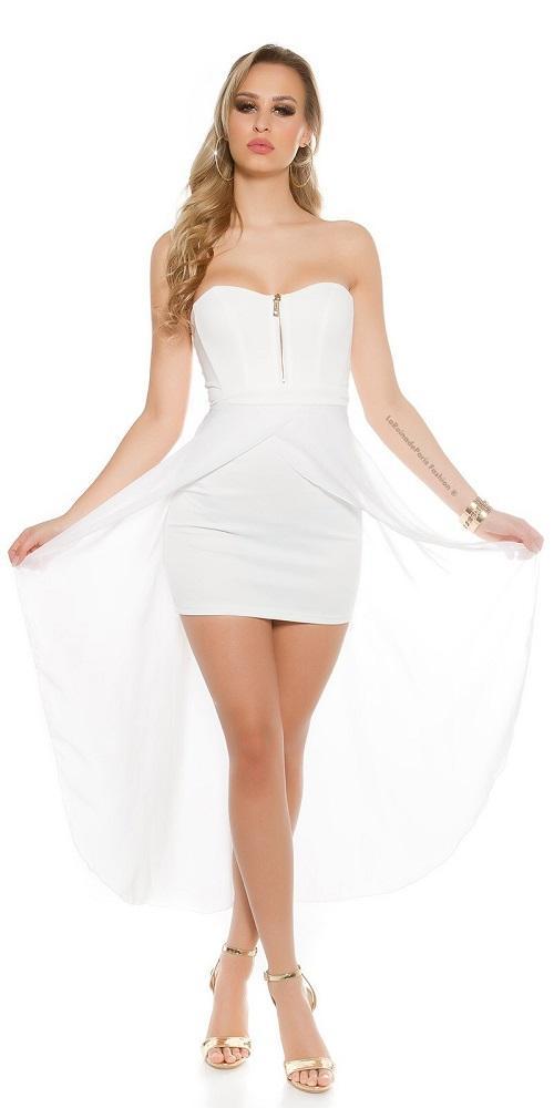 Vestido corto largo blanco