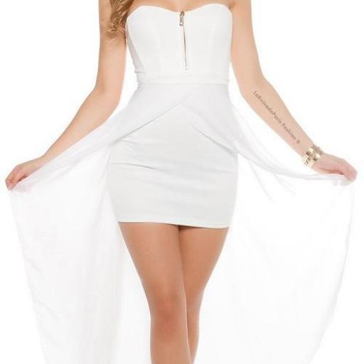 Vestido corto largo blanco [0]