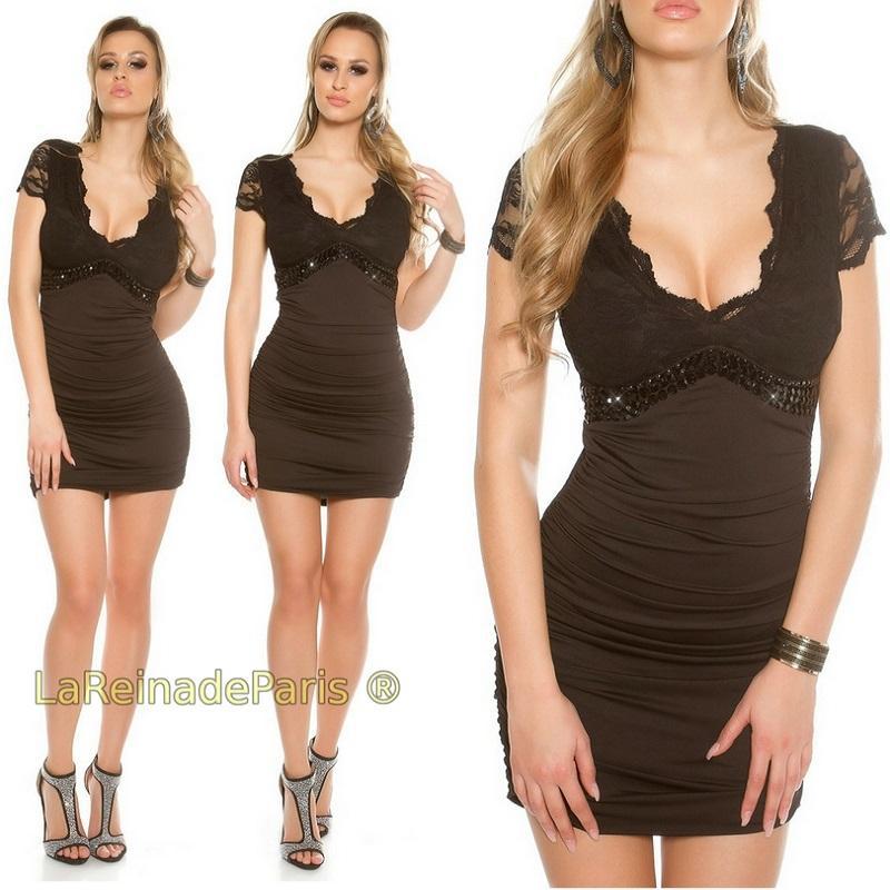 Mini vestido negro decorado