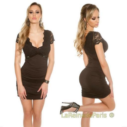 Mini vestido negro decorado [3]