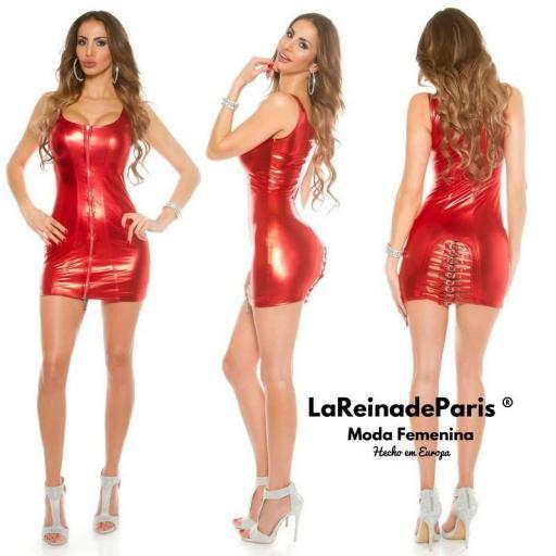 Mini vestido ajustado rojo metalizado [2]