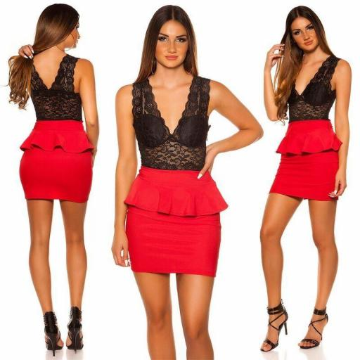 Vestido rojo peplum rojo con encaje