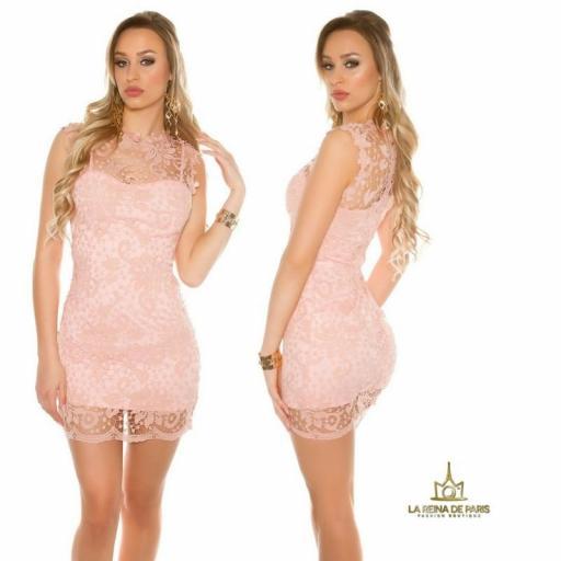 Vestido rosa encaje chic [1]