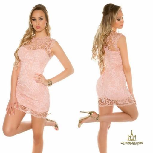 Vestido rosa encaje chic [2]