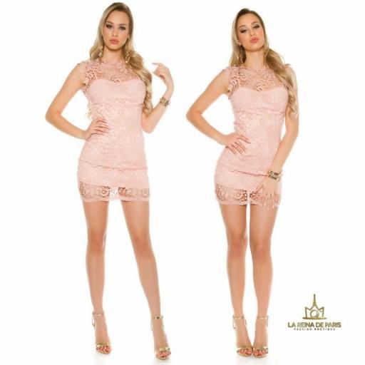 Vestido rosa encaje chic [3]