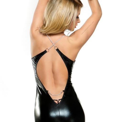 Vestido muy corto brillante negro  [1]