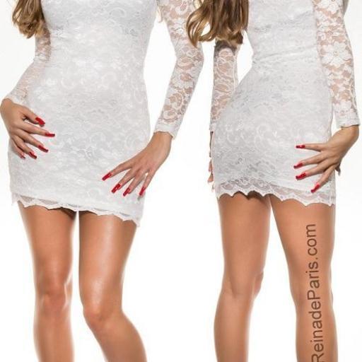 Vestidos cortos elegantes encaje blanco