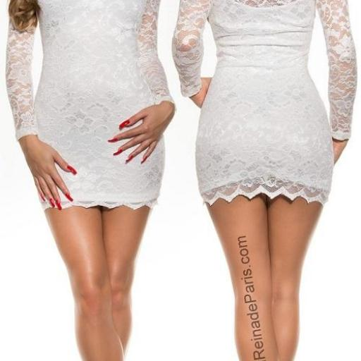 Vestidos cortos elegantes encaje blanco [1]