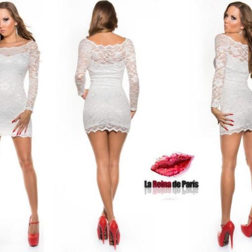 Vestidos cortos elegantes encaje blanco [2]