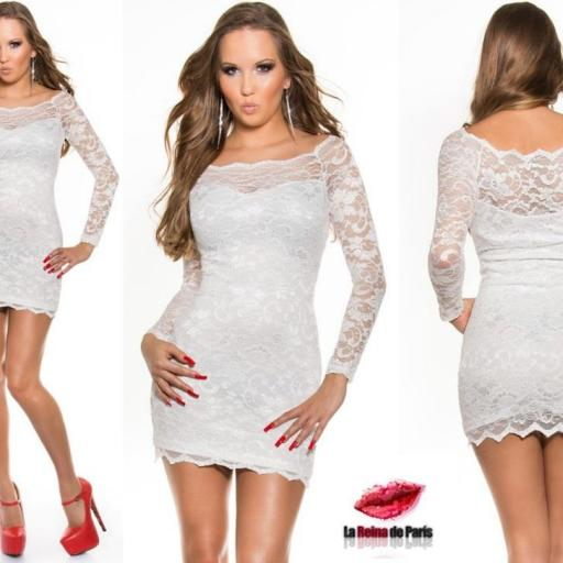 Vestidos cortos elegantes encaje blanco [3]