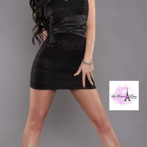 Vestido negro corto de encaje Miracle
