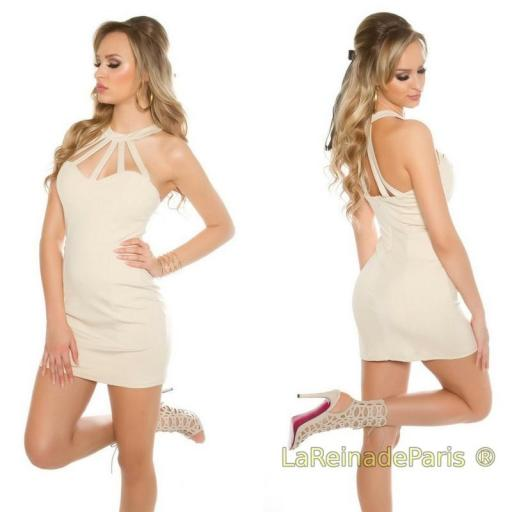 Vestido corto ajustado con tiras desing [2]