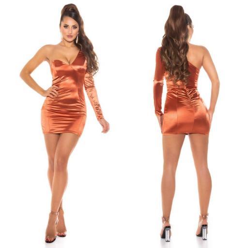 Vestido bronce satinado de moda  [1]