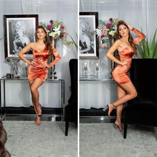 Vestido bronce satinado de moda  [2]